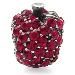 AUTH Nagara APPLE Ruby Red Crystal Silver Charms Bead fits Pandora Chamilia