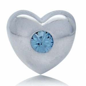 March Birthstone Aquamarine Crystal Sterling Silver Heart Charm Bead (Fits Pandora Chamilia)
