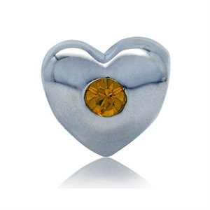 November Birthstone Topaz Yellow Crystal Sterling Silver Heart Charm Bead (Fits Pandora Chamilia)