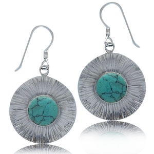 Turquoise Textured Sterling Silver Dangle Earrings