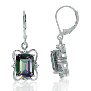 7.82ct. Mystic Fire Topaz 925 Sterling Silver Leverback Ribbon Earrings