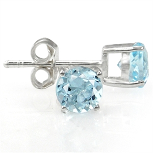 1.44ct. Natural Blue Topaz 925 Sterling Silver Stud Earrings