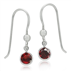 1.24ct. Natural January Birthstone Garnet 925 Sterling Silver Dangle Earrings