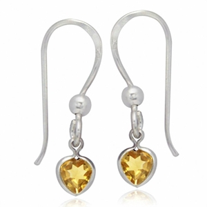 Natural Heart Shape Citrine 925 Sterling Silver Dangle Earrings
