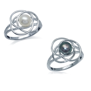 Natural-White-or-Black-Pearl-925-Sterling-Silver-Ring