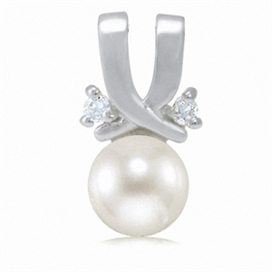 Natural White Pearl & White CZ 925 Sterling Silver Pendant