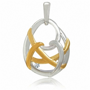 White Diamond Two-Tone Gold Plated 925 Sterling Silver Weave Pendant