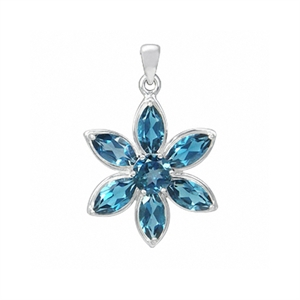 4.7ct. Natural London Blue Topaz 925 Sterling Silver Flower Cluster Pendant