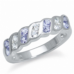 Natural Tanzanite & White Topaz 925 Sterling Silver Journey Ring