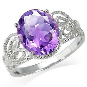 3.09ct. Natural February Birthstone Amethyst & White Topaz 925 Sterling Silver Vintage Style Ring