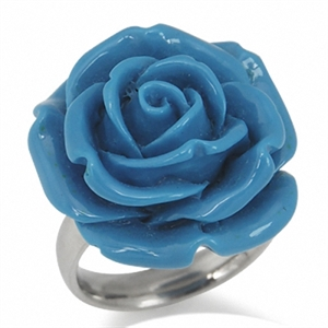 24MM Turquoise Blue Stainless Steel Plastic ROSE/FLOWER Ring