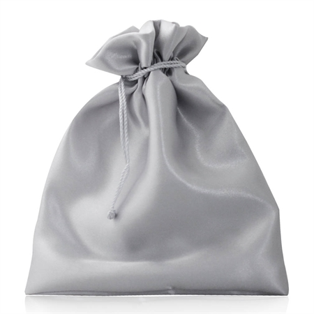 """6"""" Silver Gray Satin Jewelry Pouch/Bag"""