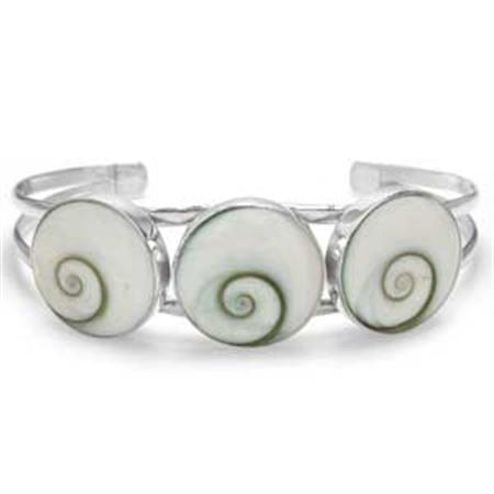 3 Stone Shiva Shell Inlay Sterling Silver Bangle