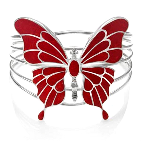 Created Red Coral 925 Sterling Silver Butterfly Bangle
