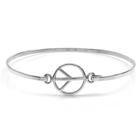 925 Sterling Silver Casual Peace Sign Teens/Girls Bangle
