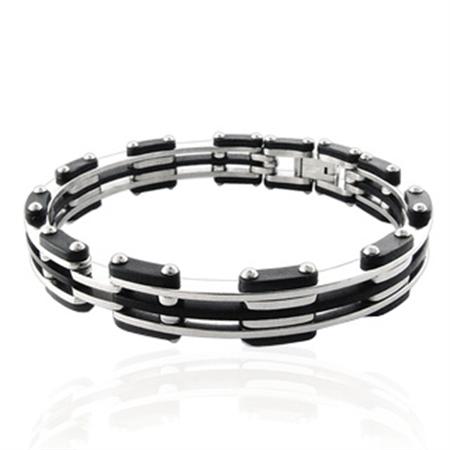 Men's Stainless Steel & Rubber Link Bangle
