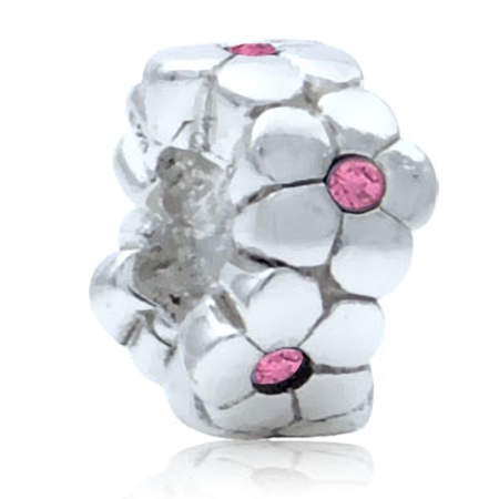 Rose Pink Crystal 925 Sterling Silver FLOWER European Charm Bead (Fits Pandora Chamilia)