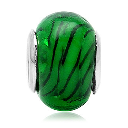Green Murano Glass 925 Sterling Silver European Charm Bead (Fits Pandora Chamilia)