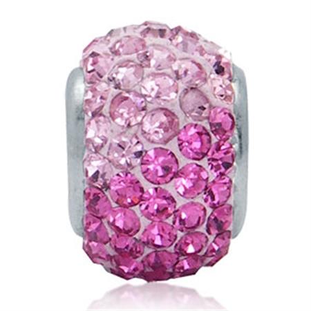 AUTH Nagara Pink Crystal Sterling Silver Charms Bead Fits Pandora Chamilia