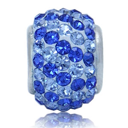 AUTH Nagara Blue Crystal Sterling Silver Charms Bead Fits Pandora Chamilia