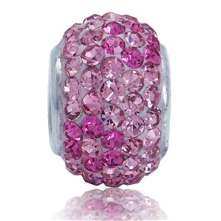 AUTH Nagara Pink Crystal Sterling Silver Flower Clay Charms Bead Fits Pandora Chamilia