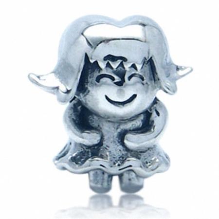AUTH Nagara 925 Sterling Silver HAPPY GIRL European Charm Bead (Fits Pandora Chamilia)