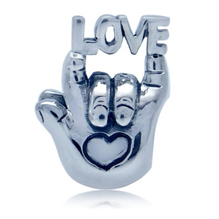 925 Sterling Silver I LOVE YOU European Charm Bead (Fits Pandora Chamilia)