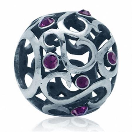 Amethyst Purple Swarovski Crystal 925 Sterling Silver Filigree European Bead (Fits Pandora Chamilia)