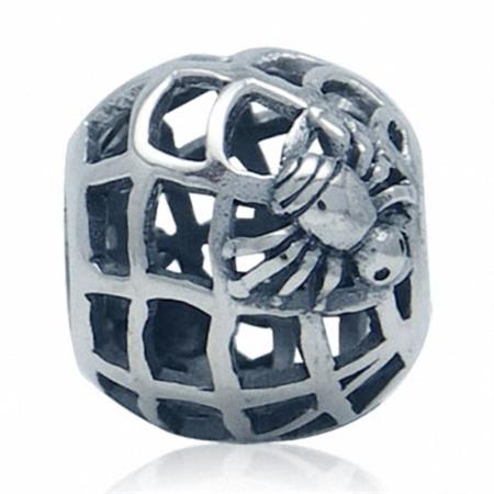 925 Sterling Silver SPIDER WEB European Charm Bead (Fits Pandora Chamilia)