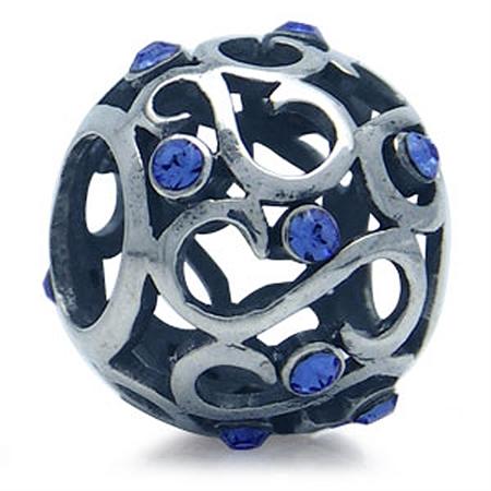 Sapphire Blue Swarovski Crystal 925 Sterling Silver Filigree European Bead (Fits Pandora Chamilia)