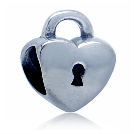925 Sterling Silver Padlock Heart European Charm Bead (Fits Pandora Chamilia)
