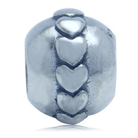 925 Sterling Silver HEART European Charm Bead (Fits Pandora Chamilia)