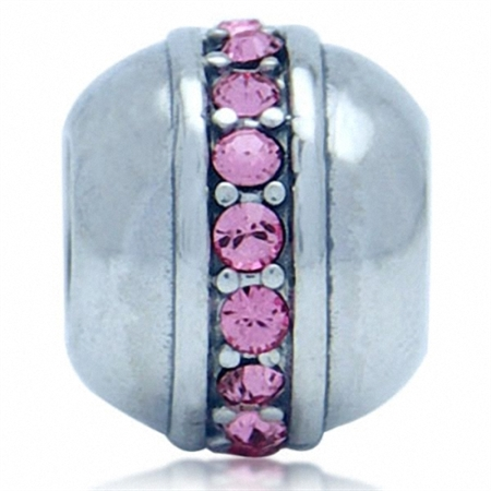 Light Rose Pink Swarovski Crystal 925 Sterling Silver European Charm Bead (Fits Pandora Chamilia)