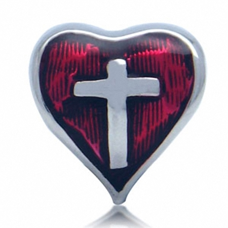 Red Enamel 925 Sterling Silver CROSS in HEART European Charm Bead (Fits Pandora Chamilia)
