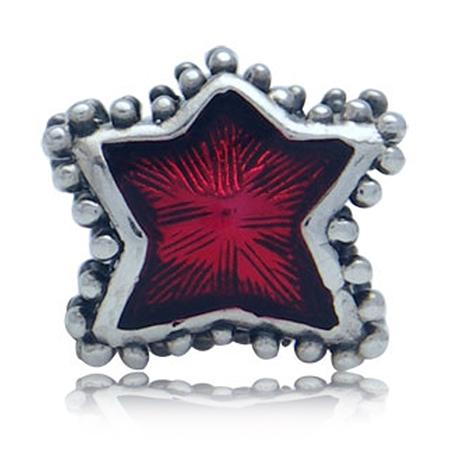 Red Enamel 925 Sterling Silver Star European Charm Bead (Fits Pandora Chamilia)