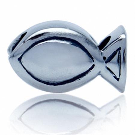 925 Sterling Silver Ichthys CHRISTIAN FISH European Charm Bead (Fits Pandora Chamilia)