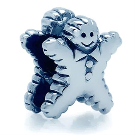 925 Sterling Silver GINGERBKEAD MAN European Charms Bead (Fits Pandora Chamilia)