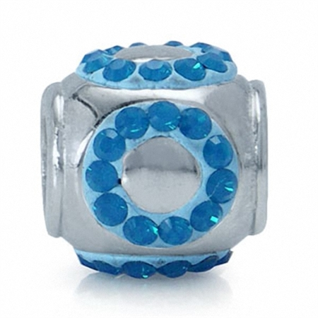 AUTH Nagara Caribbean Blue Crystal Silver Charms Bead fits Pandora Chamilia