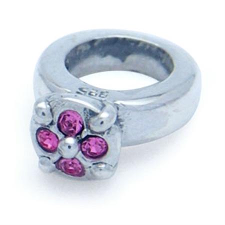 Rose Pink Swarovski Crystal 925 Sterling Silver Ring European Charm Bead (Fits Pandora Chamilia)