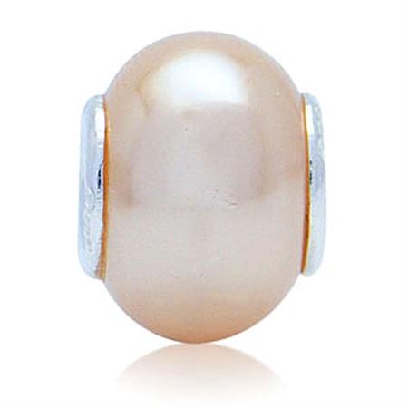 Imitation Peach Pearl 925 Sterling Silver European Charm Bead (Fits Pandora Chamilia)