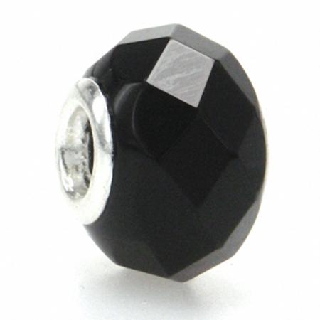 Jet Black Murano Glass 925 Sterling Silver European Charm Bead (Fits Pandora Chamilia)