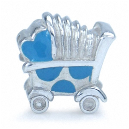 AUTH Nagara BABY CARRIAGE Enamel Silver Bead Charms fits Pandora Chamilia