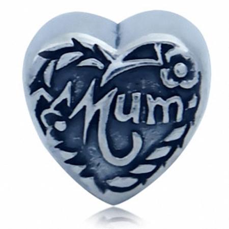 AUTH Nagara 925 Sterling Silver MUM HEART European Charm Bead (Fits Pandora Chamilia)
