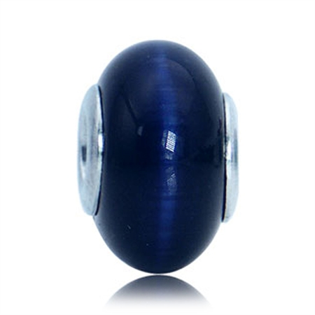 Sapphire Blue Cats Eye 925 Sterling Silver European Charm Bead (Fits Pandora Chamilia)