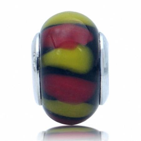 Multi Colored Murano Glass 925 Sterling Silver European Charm Bead (Fits Pandora Chamilia)