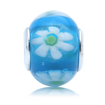 Multicolor Murano Glass 925 Sterling Silver Flower European Charm Bead (Fits Pandora Chamilia)