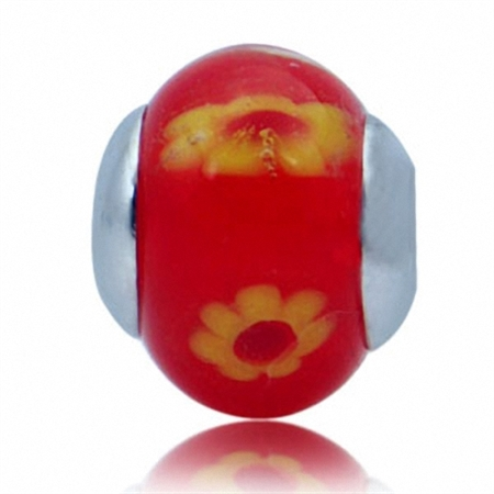 Orange & Yellow Murano Glass 925 Sterling Silver Flower European Charm Bead (Fits Pandora Chamilia)
