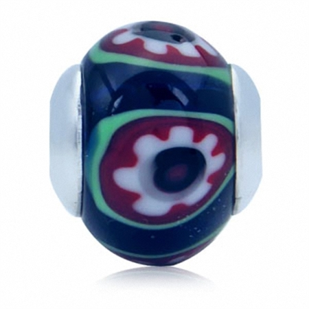Multi Colored Murano Glass 925 Sterling Silver Flower European Charm Bead (Fits Pandora Chamilia)