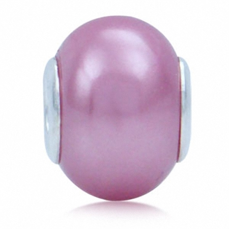 Imitation Pink Pearl 925 Sterling Silver European Charm Bead (Fits Pandora Chamilia)