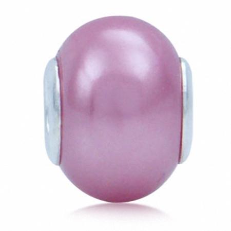 Imitation Pink Pearl 925 Sterling Silver European Charm Bead (Fits Pandora Chamilia)